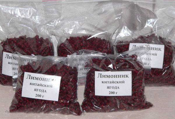 ягоды лимонника в пакетах