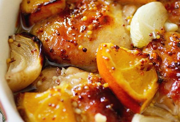 Мясо с апельсинами и луком