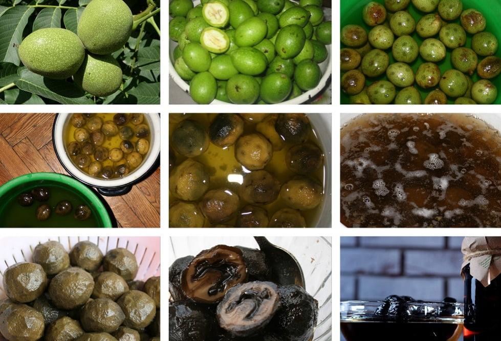 приготовление варенья из орешков