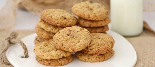 печенье из овсяных хлопьев на тарелке