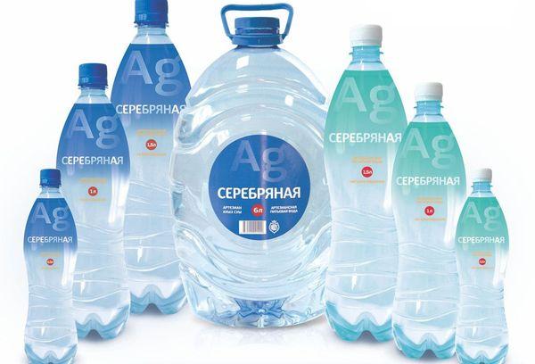 вода серебряная в пластиковых бутылках