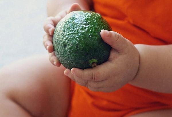 Ребенок держит плод авокадо