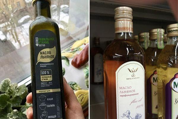 Льняное масло в бутылках из темного стекла
